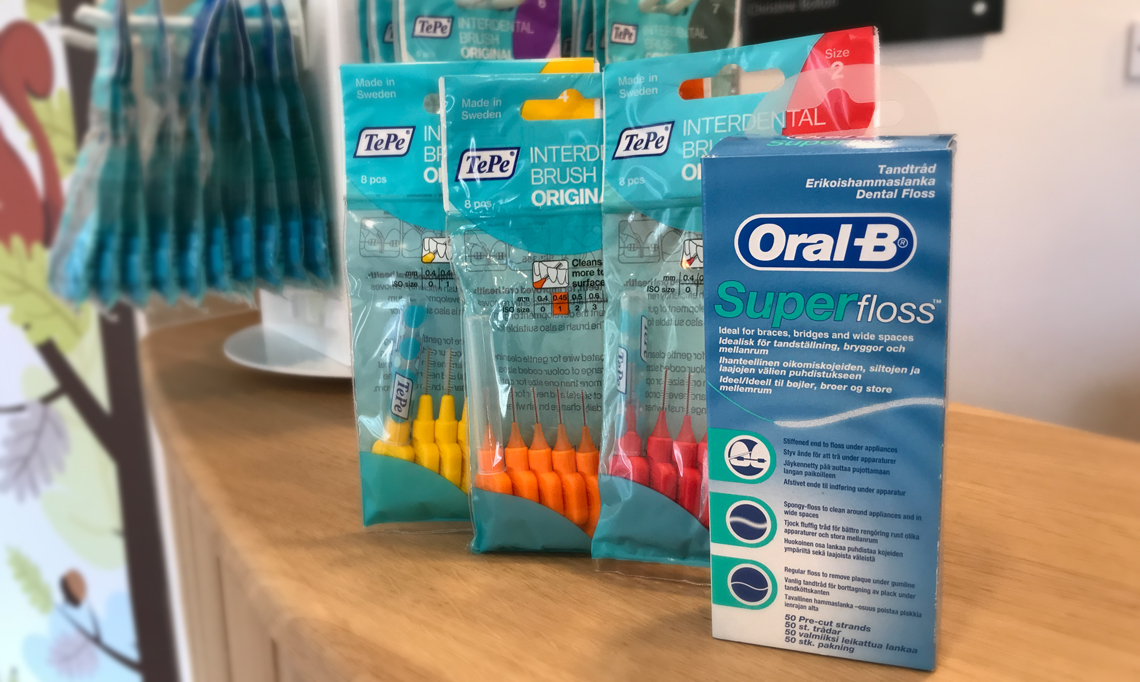 Interdental teeth cleaning with Tepe and Oral B
