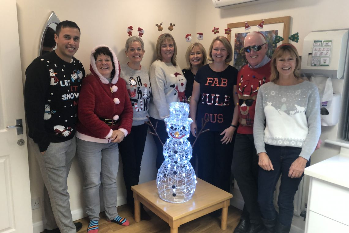 The Oak Lodge Team celebrating Christmas Jumper Day 2020